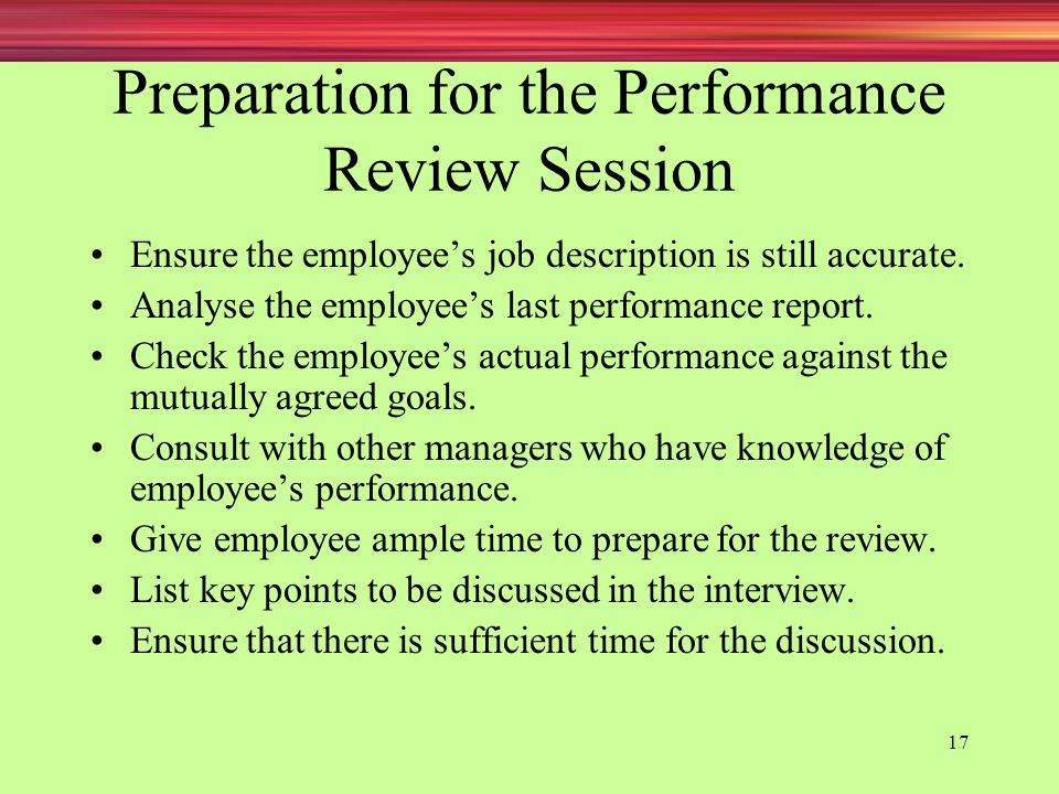 Preparation for the Performance Review Session