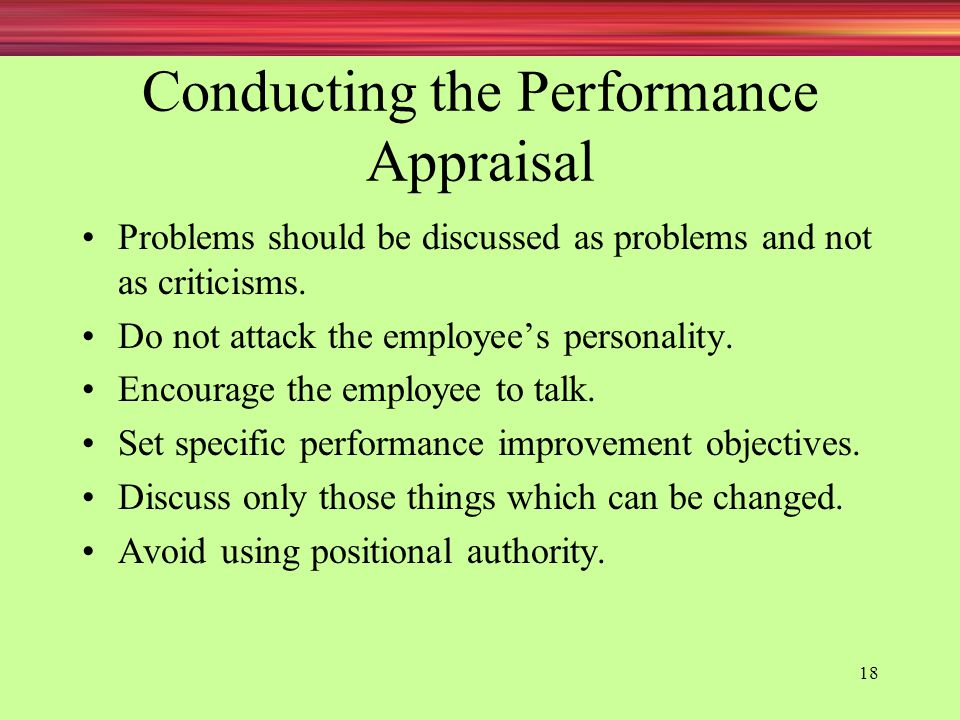 Conducting the Performance Appraisal