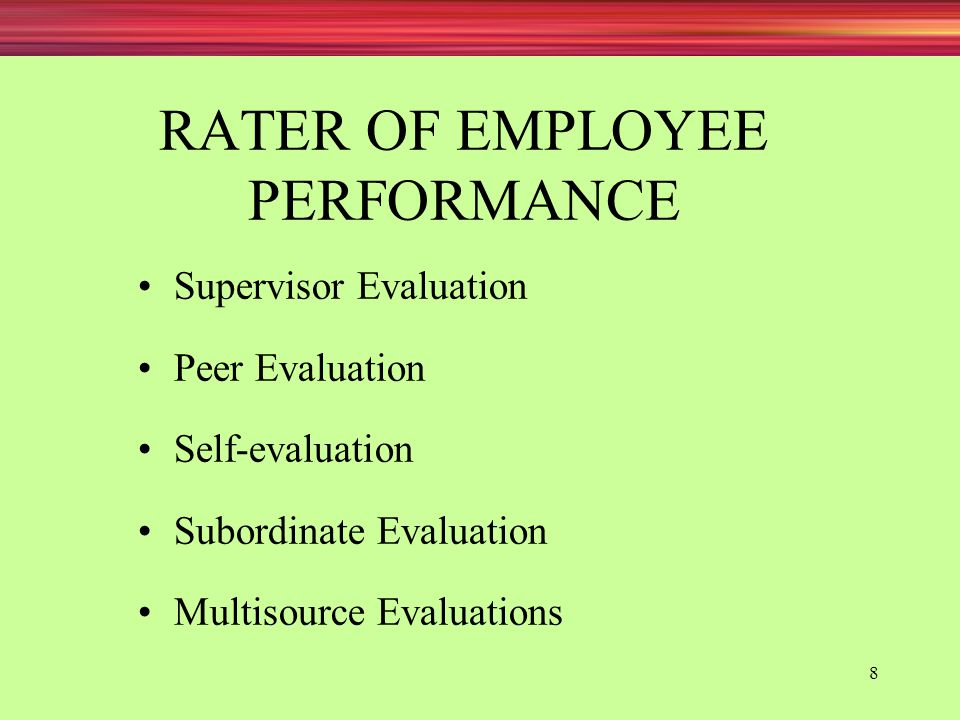 RATER OF EMPLOYEE PERFORMANCE