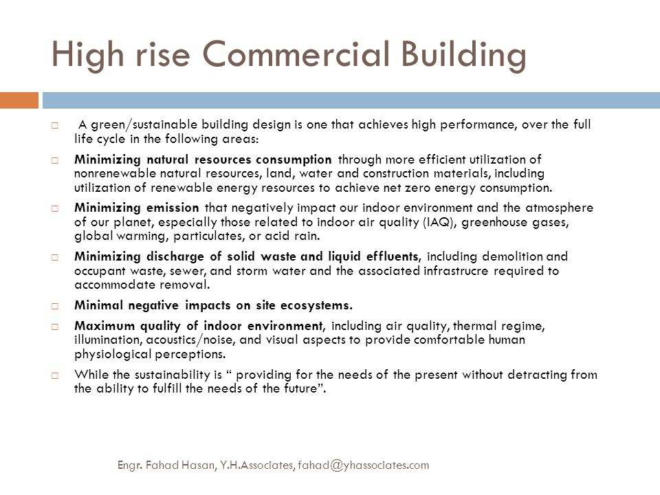 MEP PROVISIONS HIGH RISE COMMERICAL BUILDING- GREEN APPROACH
