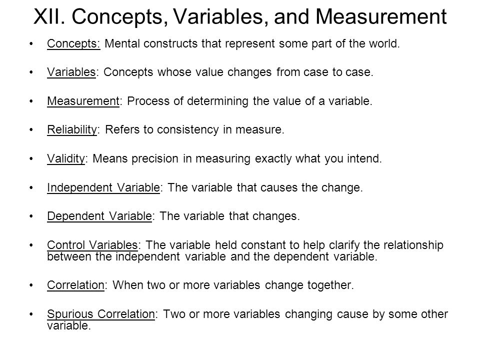 XII. Concepts, Variables, and Measurement