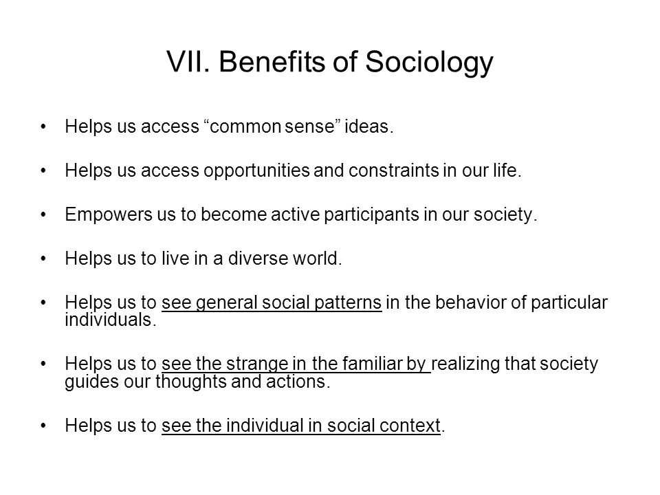 VII. Benefits of Sociology