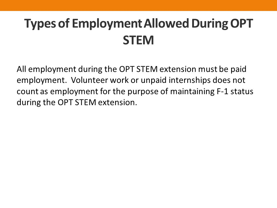 Types of Employment Allowed During OPT STEM