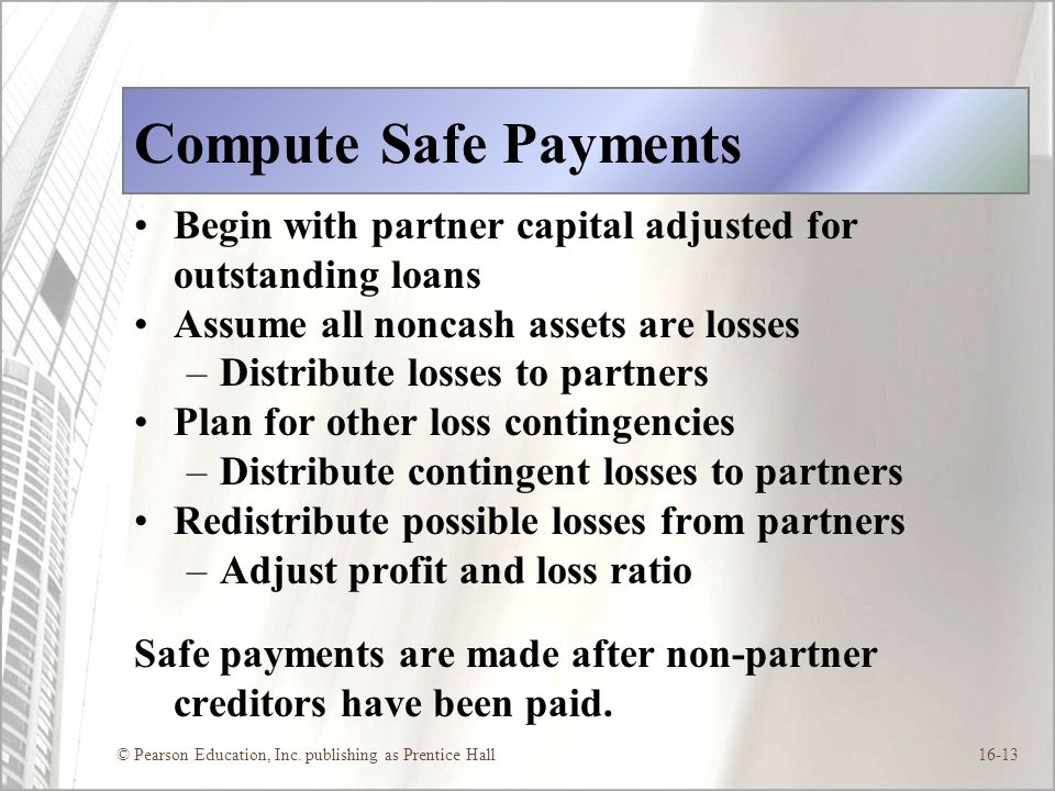 Compute Safe Payments Begin with partner capital adjusted for outstanding loans. Assume all noncash assets are losses.