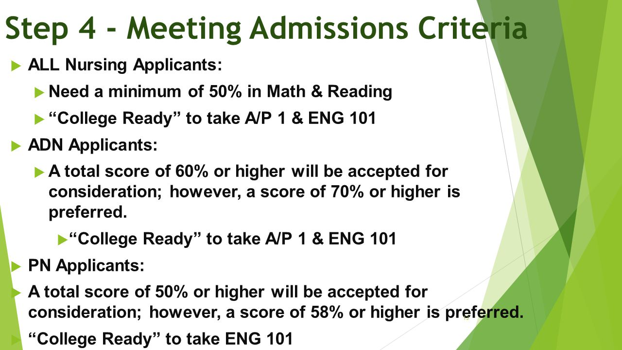 Step 4 - Meeting Admissions Criteria