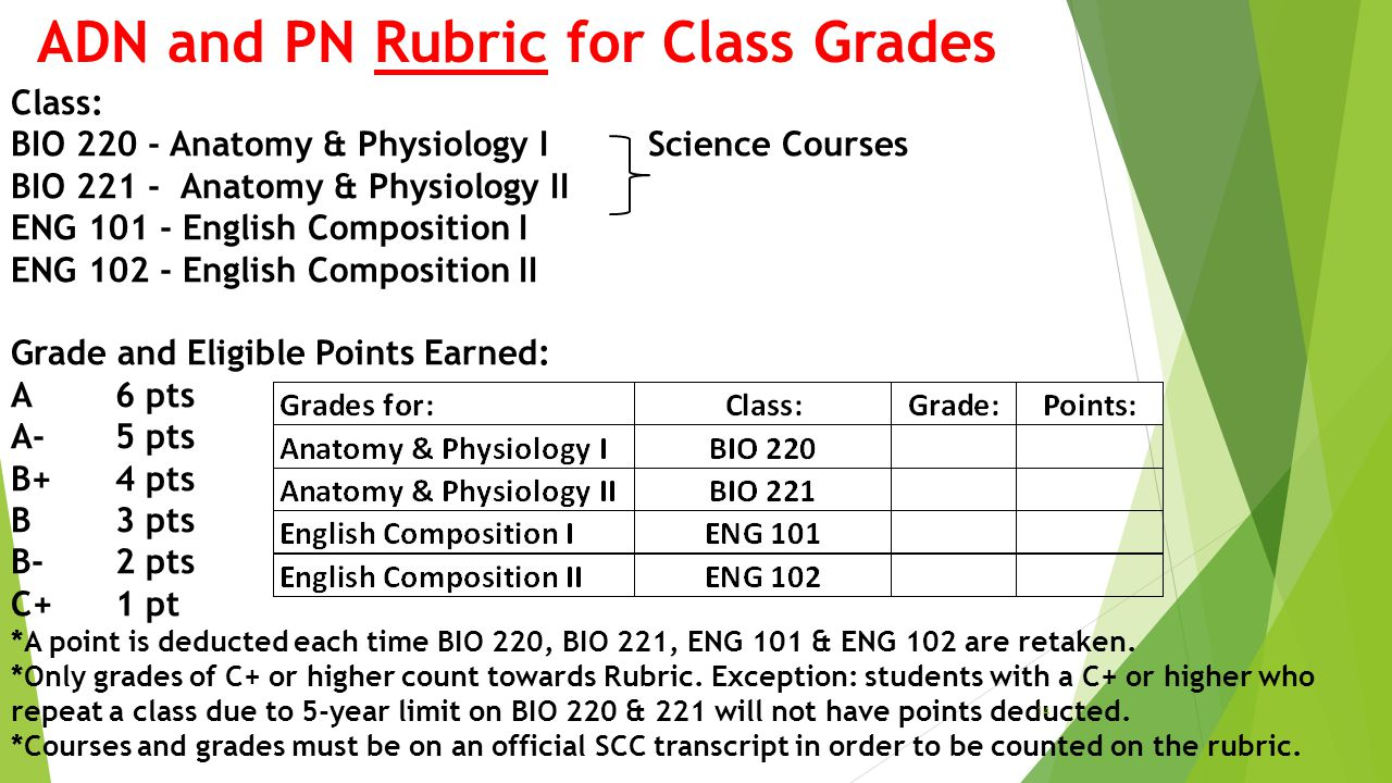 ADN and PN Rubric for Class Grades