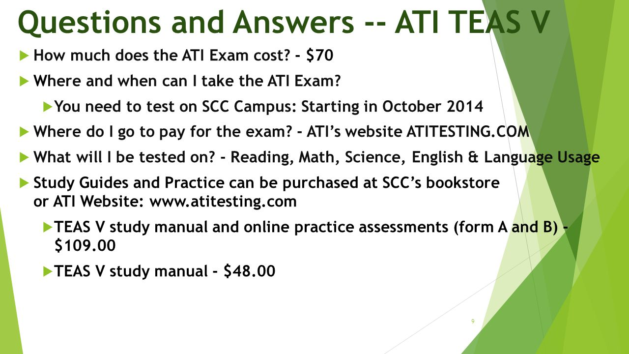 Questions and Answers -- ATI TEAS V