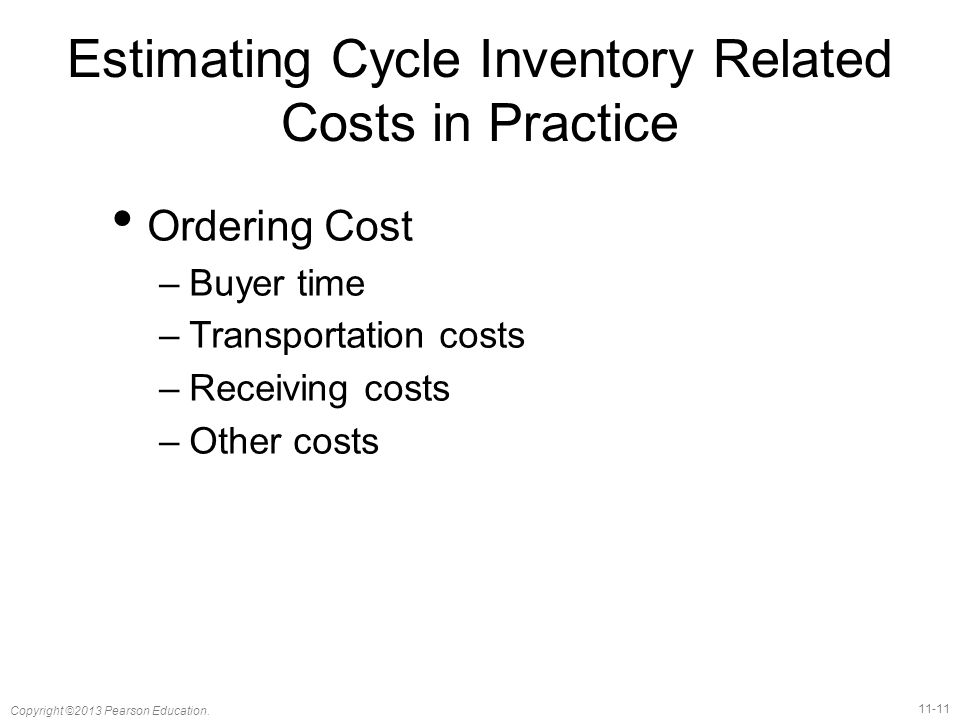 Estimating Cycle Inventory Related Costs in Practice