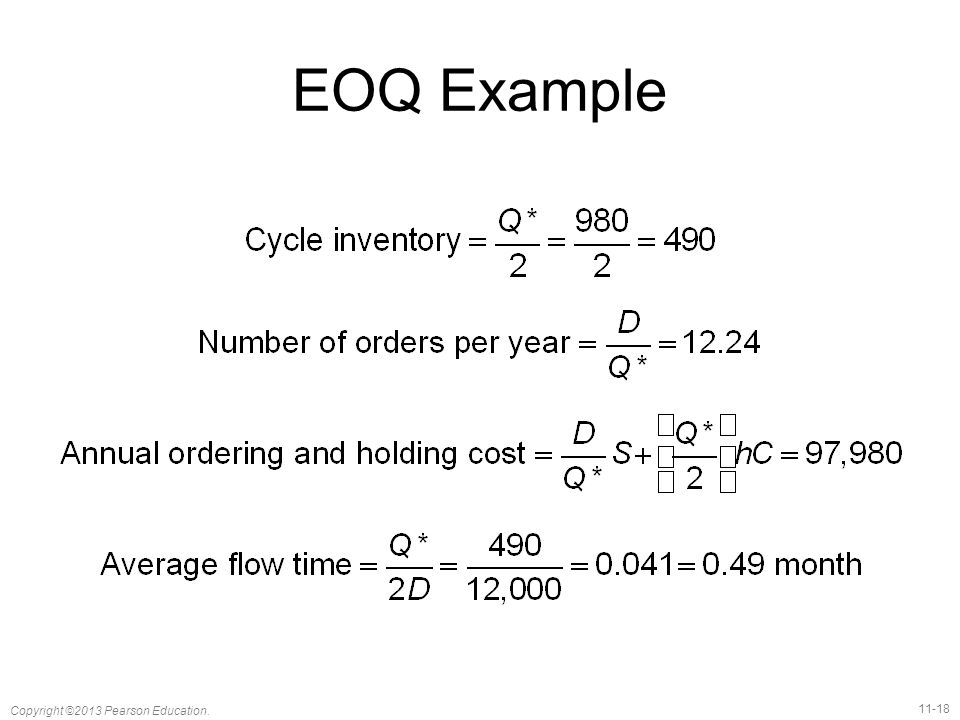 EOQ Example Notes: