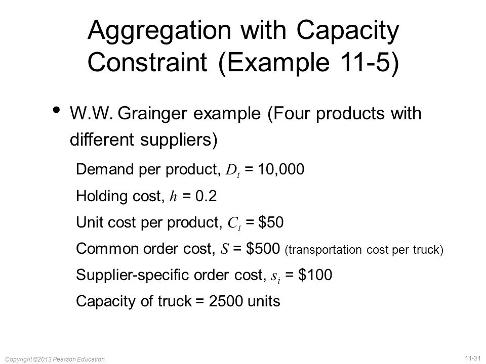 Aggregation with Capacity Constraint (Example 11-5)