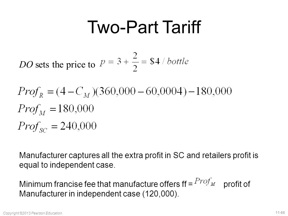 Two-Part Tariff DO sets the price to