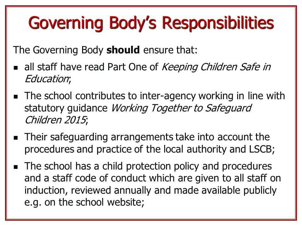 Governing Body's Responsibilities