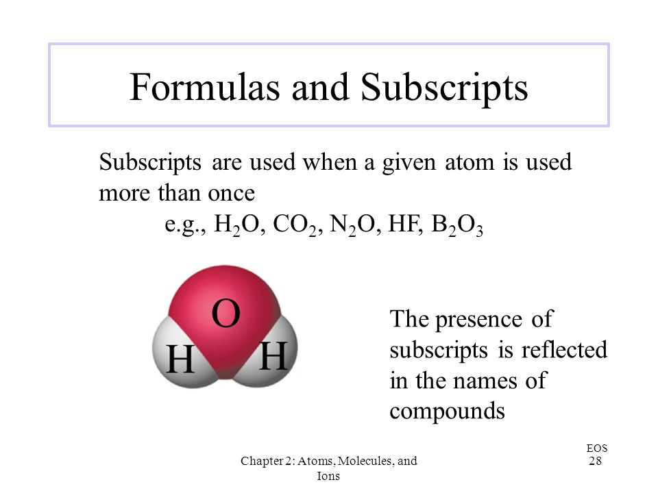 Formulas and Subscripts