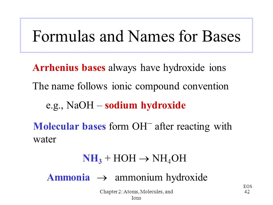 Formulas and Names for Bases