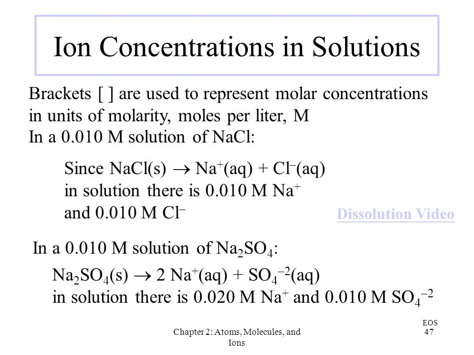 Ion Concentrations in Solutions