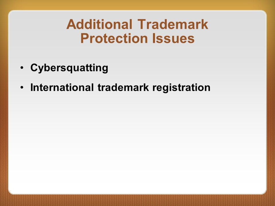 Additional Trademark Protection Issues