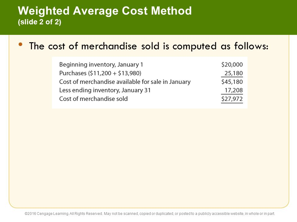 Weighted Average Cost Method (slide 2 of 2)