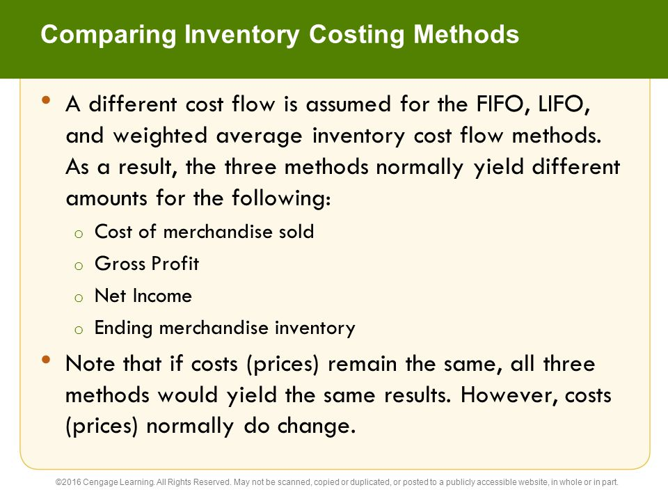 Comparing Inventory Costing Methods