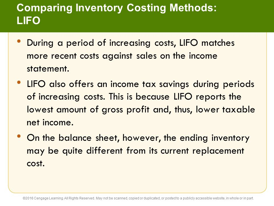 Comparing Inventory Costing Methods: LIFO