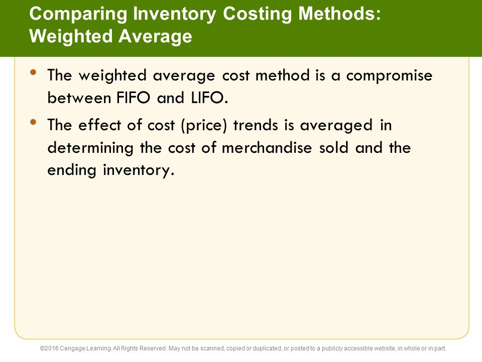 Comparing Inventory Costing Methods: Weighted Average