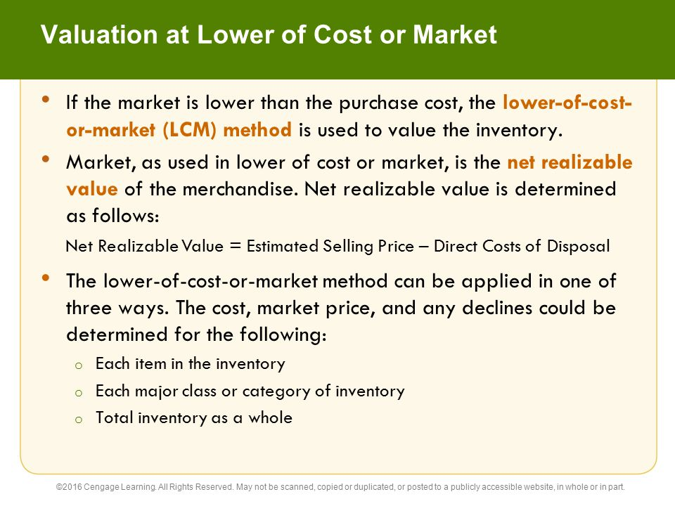 Valuation at Lower of Cost or Market