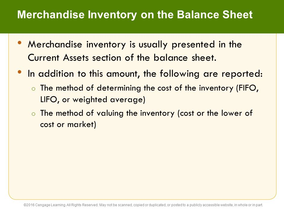 Merchandise Inventory on the Balance Sheet