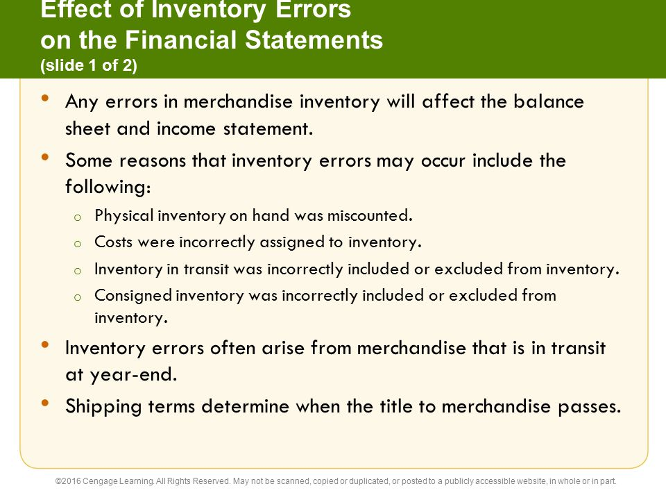 Effect of Inventory Errors on the Financial Statements (slide 1 of 2)