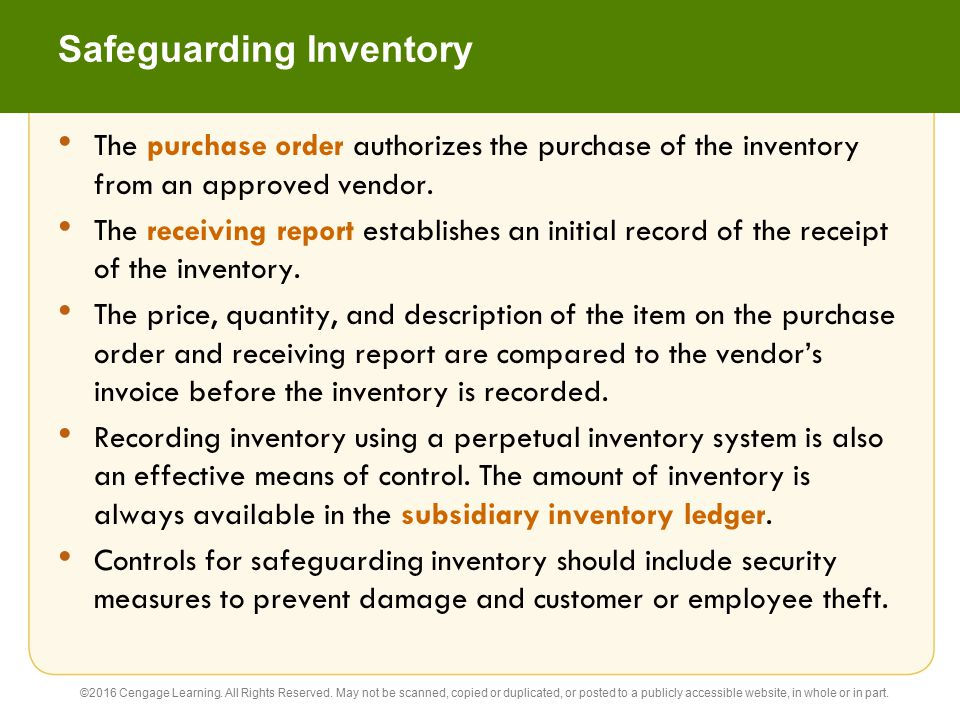 Safeguarding Inventory