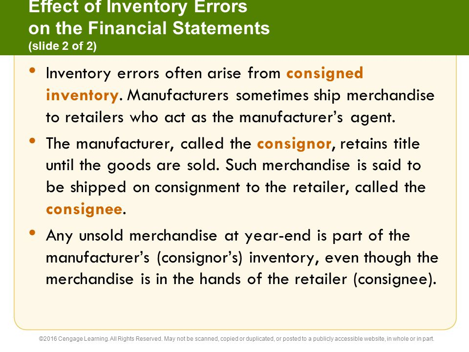 Effect of Inventory Errors on the Financial Statements (slide 2 of 2)