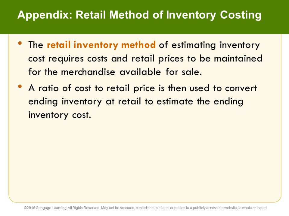 Appendix: Retail Method of Inventory Costing