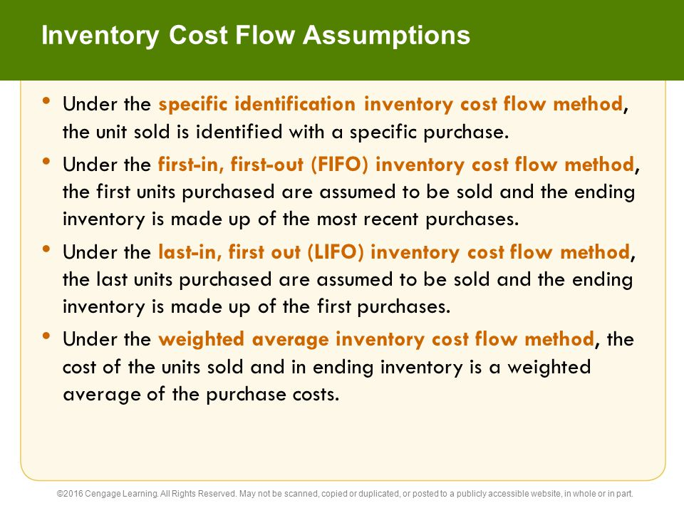 Inventory Cost Flow Assumptions