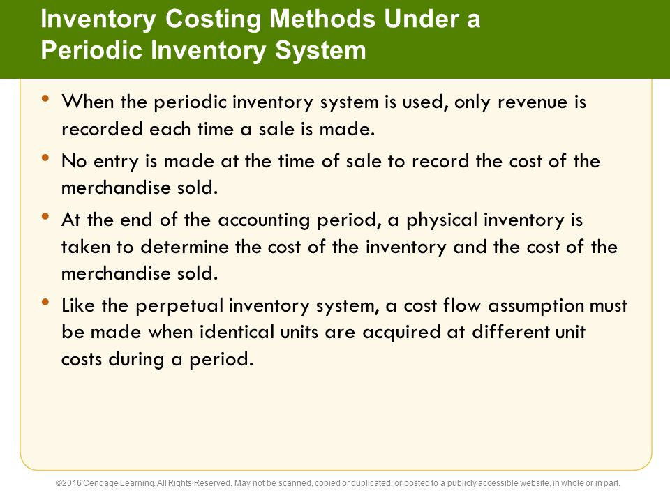 Inventory Costing Methods Under a Periodic Inventory System
