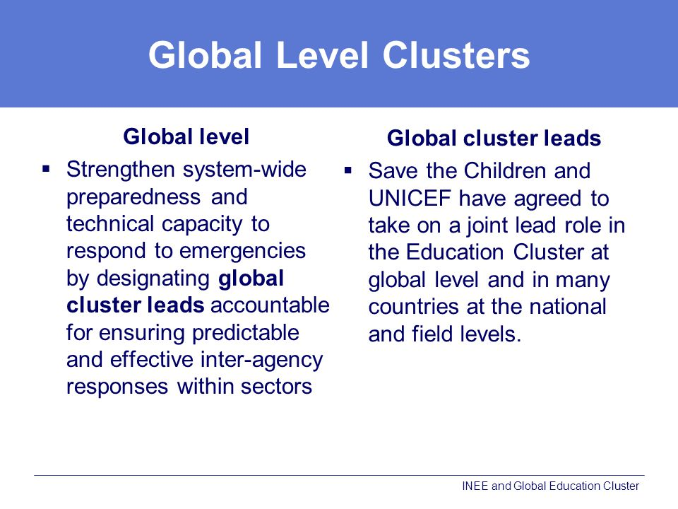 Global Level Clusters Global level Global cluster leads