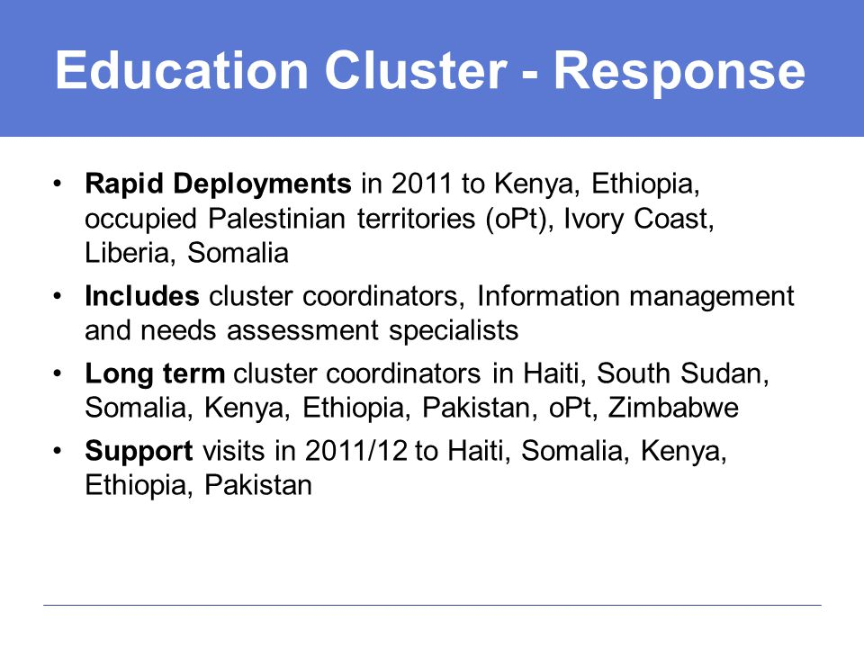 Education Cluster - Response