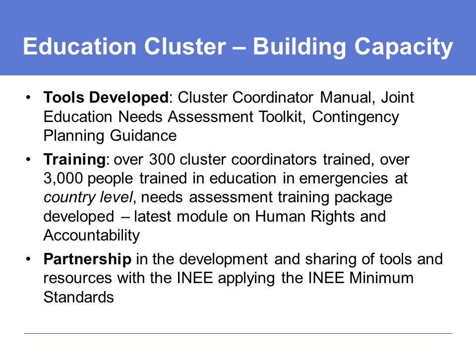 Education Cluster – Building Capacity