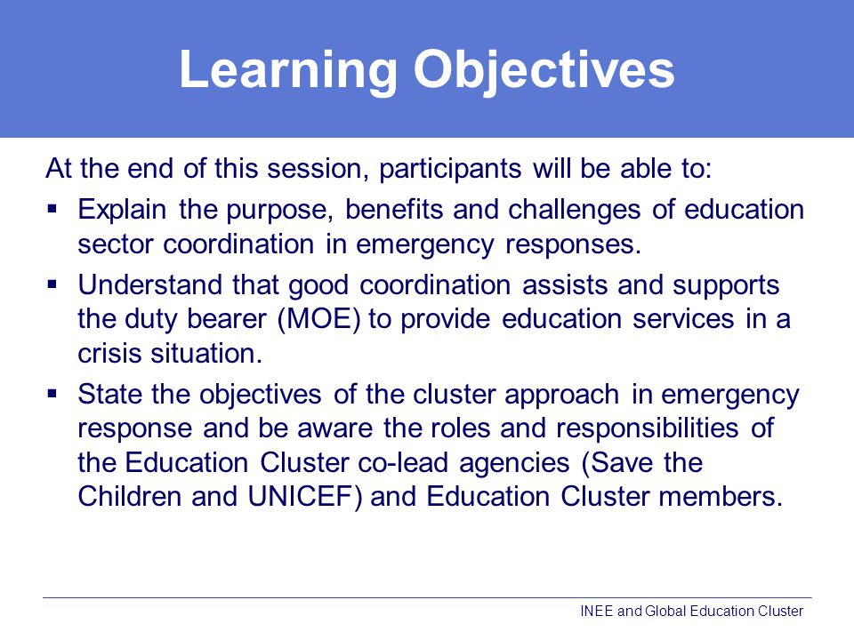 Learning Objectives At the end of this session, participants will be able to: