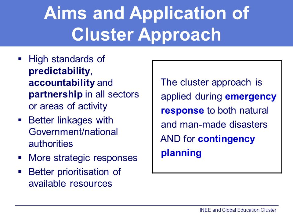 Aims and Application of Cluster Approach