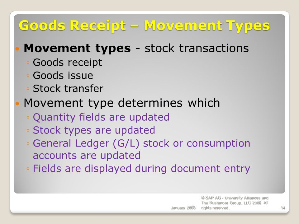 Goods Receipt – Movement Types