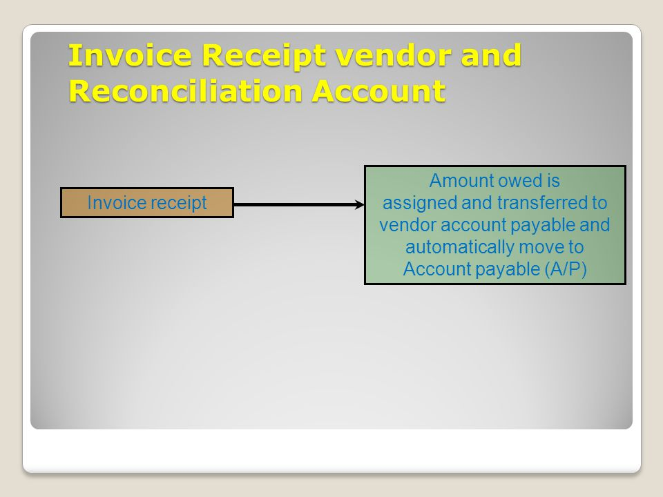 Invoice Receipt vendor and Reconciliation Account