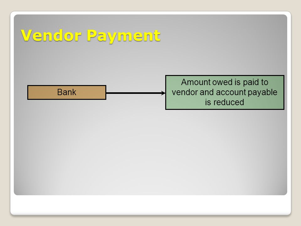 vendor and account payable is reduced