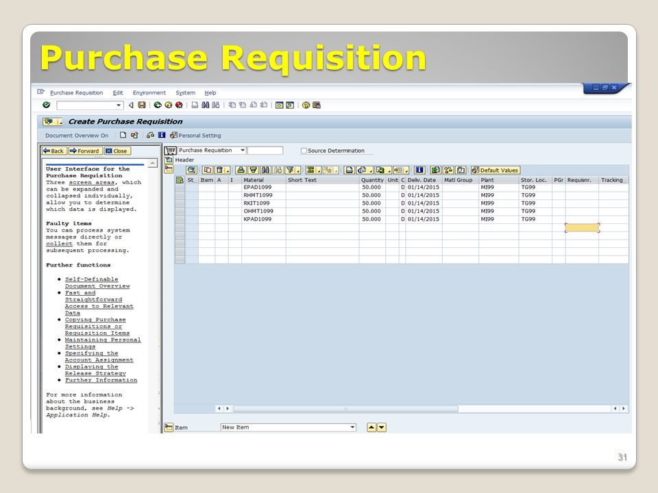 Purchase Requisition ECC 6.0 January 2008