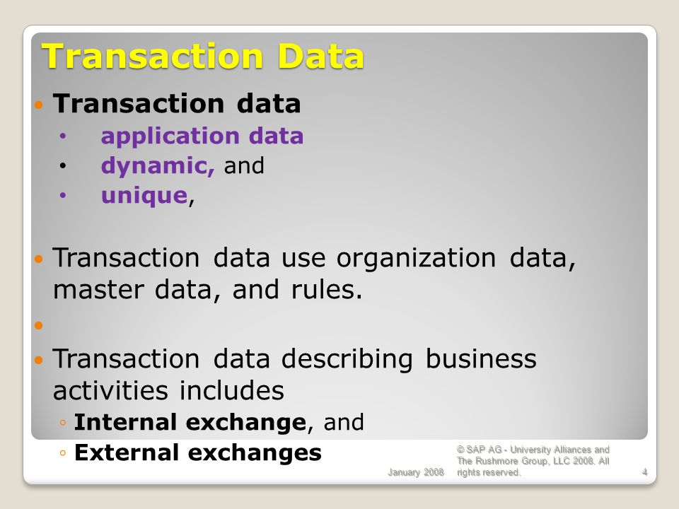 Transaction Data Transaction data