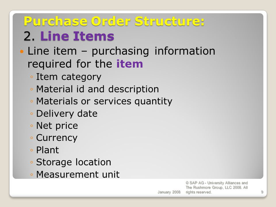 Purchase Order Structure: 2. Line Items