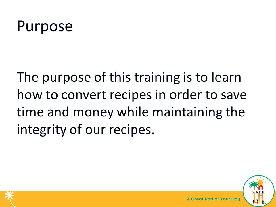 Basic kitchen math recipe conversion training for food services purpose forumfinder Gallery