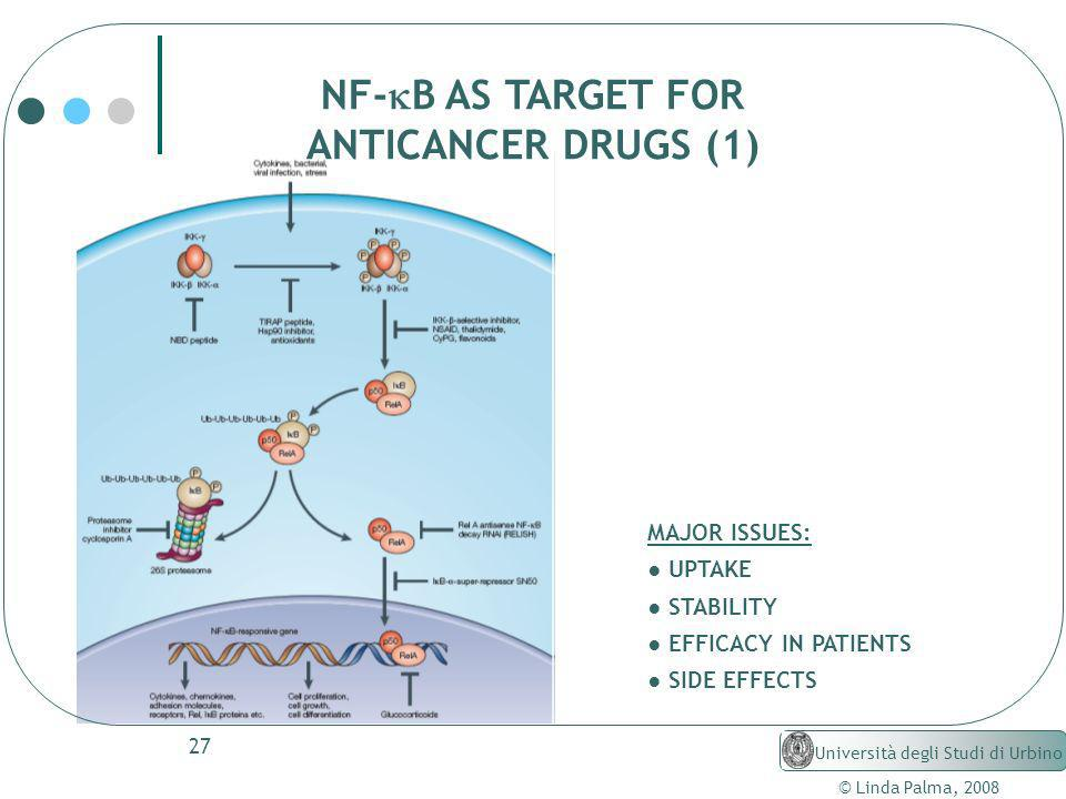 NF-kB AS TARGET FOR ANTICANCER DRUGS (1) MAJOR ISSUES: ● UPTAKE