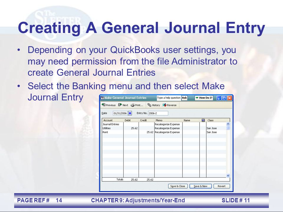 Creating A General Journal Entry