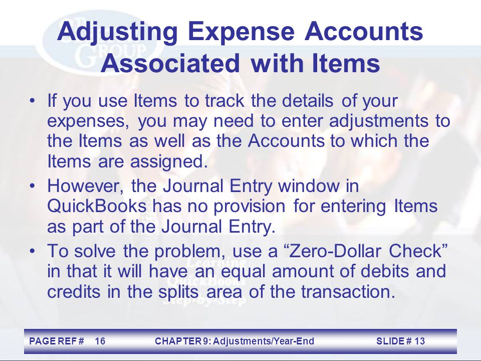 Adjusting Expense Accounts Associated with Items