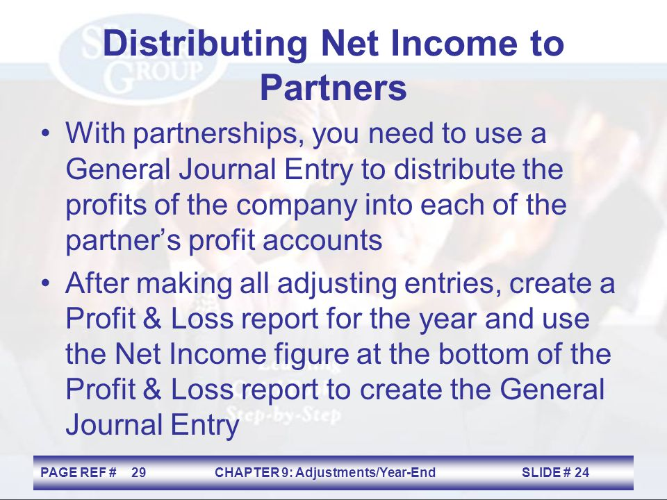 Distributing Net Income to Partners