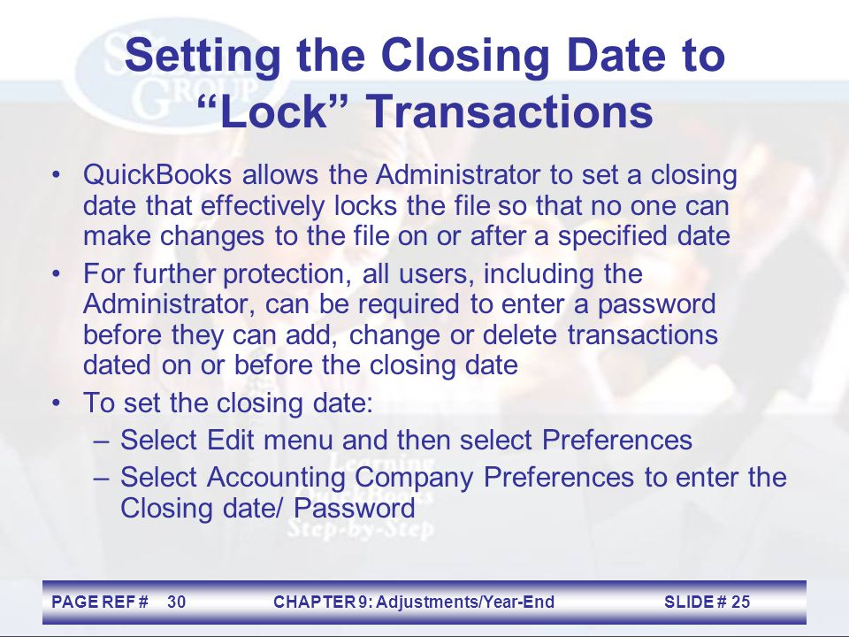 Setting the Closing Date to Lock Transactions