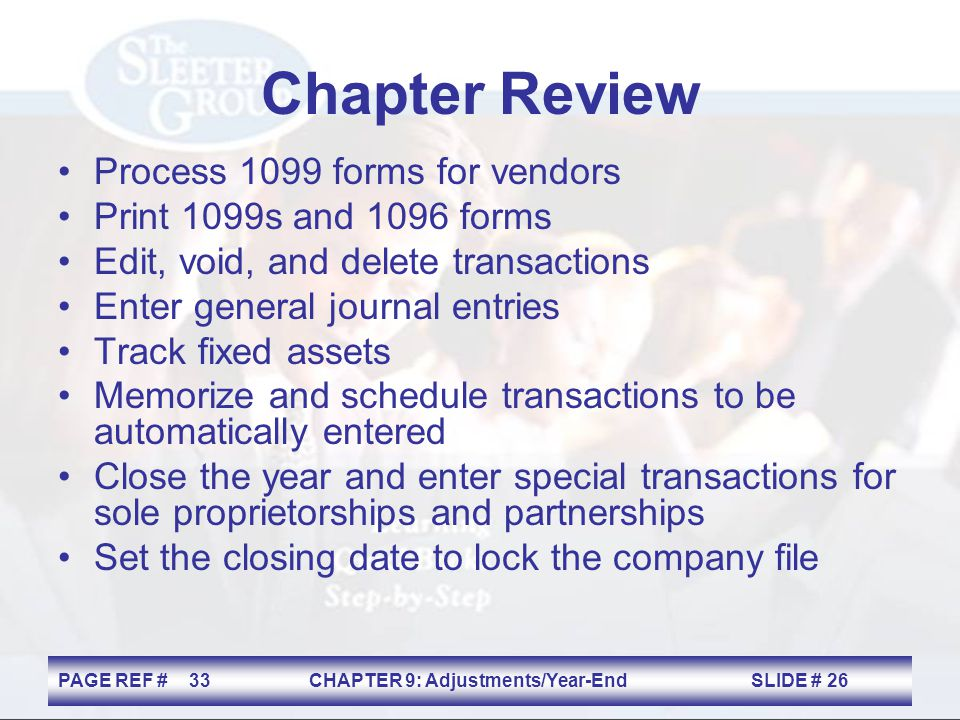 Chapter Review Process 1099 forms for vendors